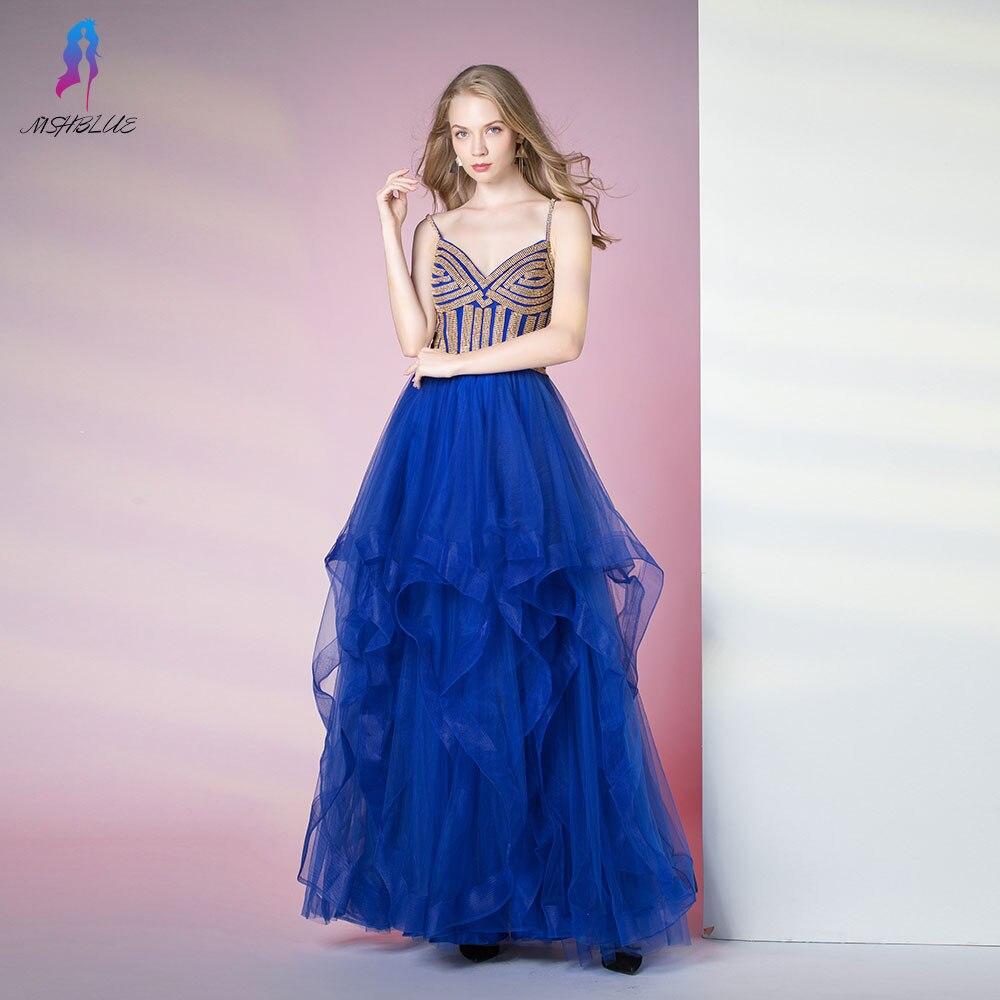Bleu Royal volants robes de bal longs cristaux d'or robe de soirée bretelles Tulle à lacets MSHBLUE