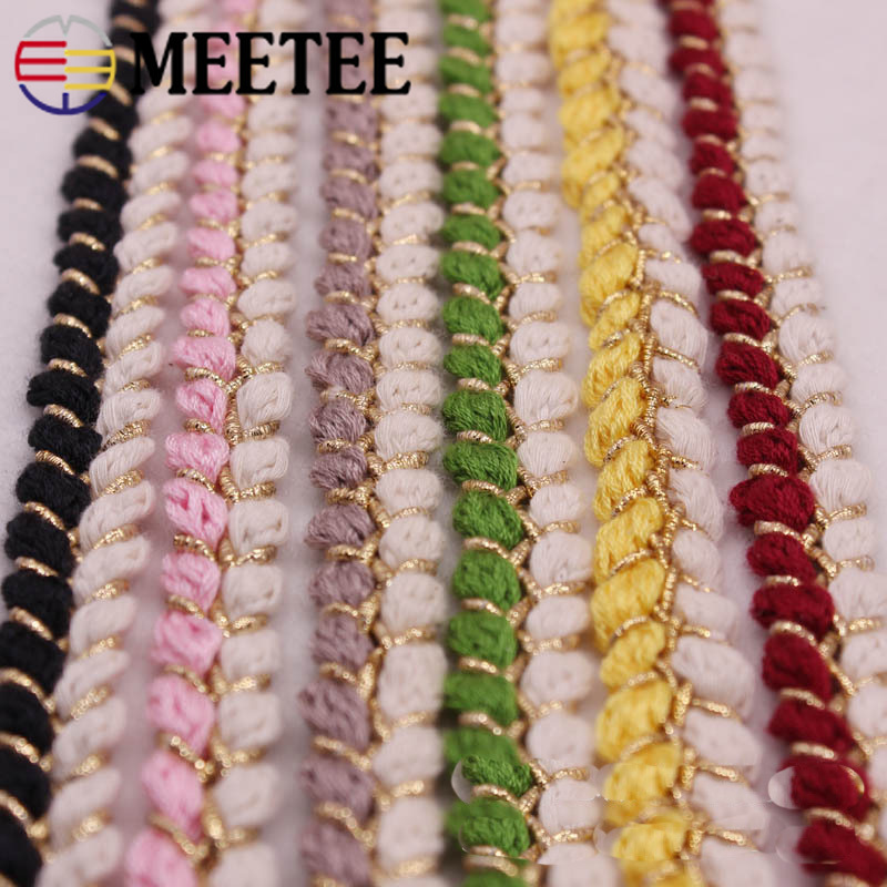 Meetee 9yards 13mm Gold Silk Weave Lace Webbing DIY Handmade Clothing Decorative Hair Accessories Craft Sewing Materials BD389