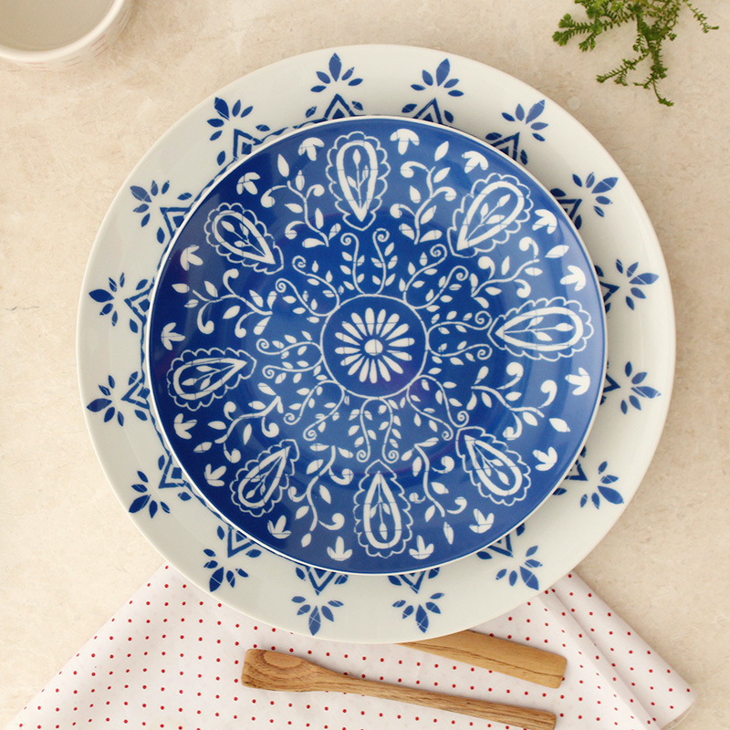 Online Shop North European Style Ceramic Dishes \u0026 Plates Kitchen Pottery On-glazed Round Blue Flower Printed Plate Dinner Steak Dish 10Inch | Aliexpress ... & Online Shop North European Style Ceramic Dishes \u0026 Plates Kitchen ...
