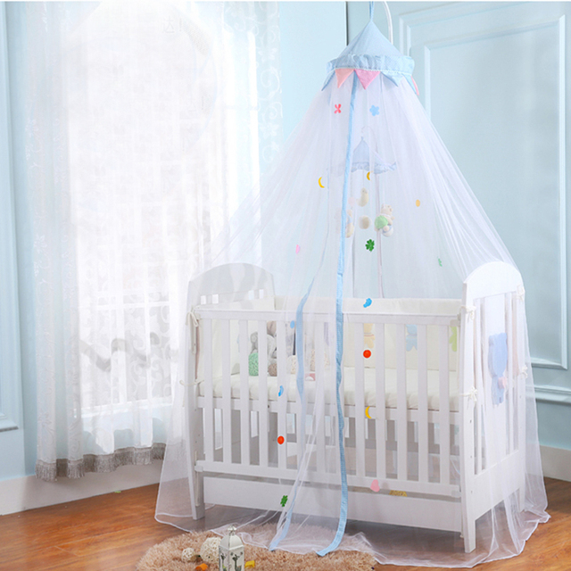 Castle Design Blue Pink Crib Netting Tent Hanging Dome Baby Bed