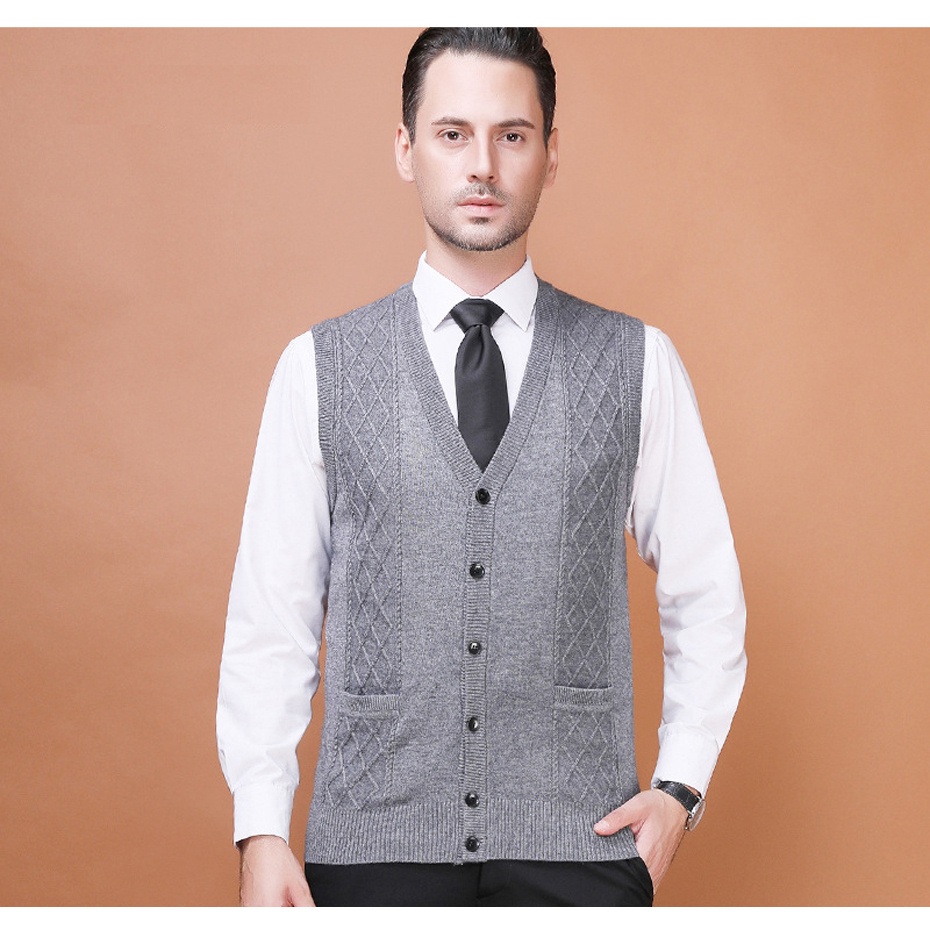 Autumn Winter Men's Casual Wool Sweater Cardigan Sleeveless Buttons Down Basic Knit Vest Fashion V-Neck Man Sweaters