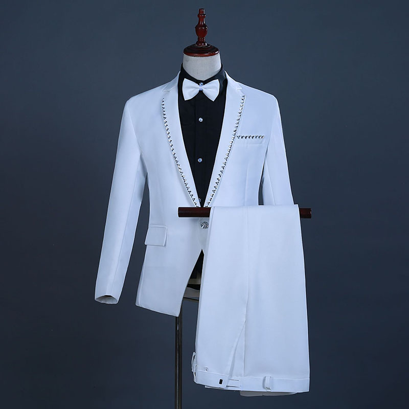 18th Century White European Court Wedding Suits Sequins Nightclub Singer Performance Clothing Costumes For Men(Jacket+Pants)
