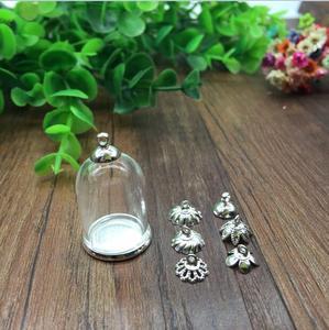 20 zestawów/partia 25*18mm szklana kula srebrny kolor zwykłych baza koraliki zestaw czepków szklane fiolki biżuteria szklana butelka wisiorek ustalenia