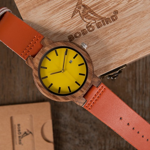 BOBO BIRD L-O09 Yellow Dial Ladies Watches with Calendar Design Zebra Wooden Watches for Men in Gift Box Drop Shipping Islamabad