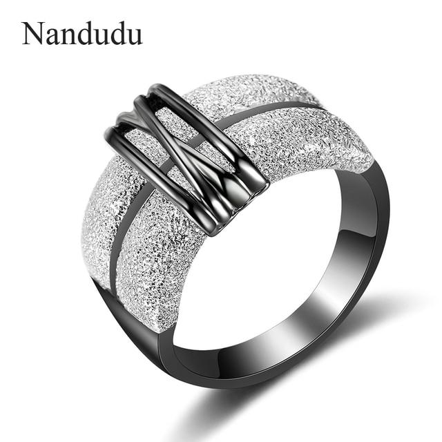 Nandudu Gold & Black & Silver Color Lady Women Rings Fashion Jewelry Gift New Ar