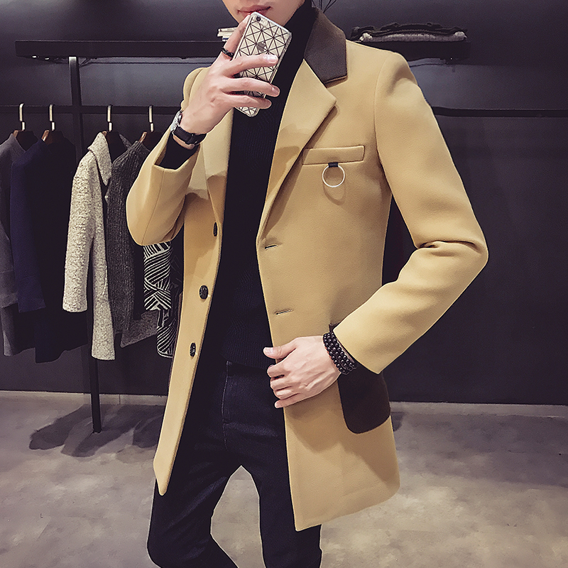 Overcoat Korean Winter Fashion British And Fabric Long with Iron-Ring Decorative Windshield