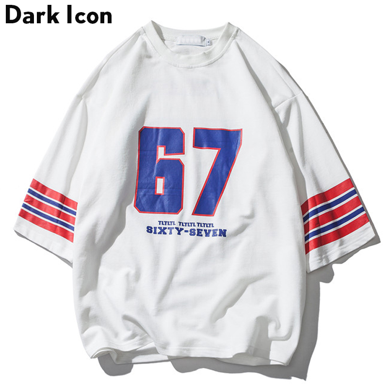 DARK ICON Number 67 Stripe On Sleeve Oversized T Shirt Men 2019 Summer Round Neck Loose Style Men's T-shirt Cotton Tee Shirts