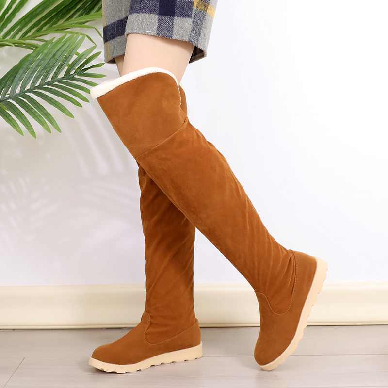 Women Stretch Faux Suede Slim Over The Knee Boots Woman Shoes Black Gray Khaki Warm Winter Long Thigh High Boots Botas Mujer