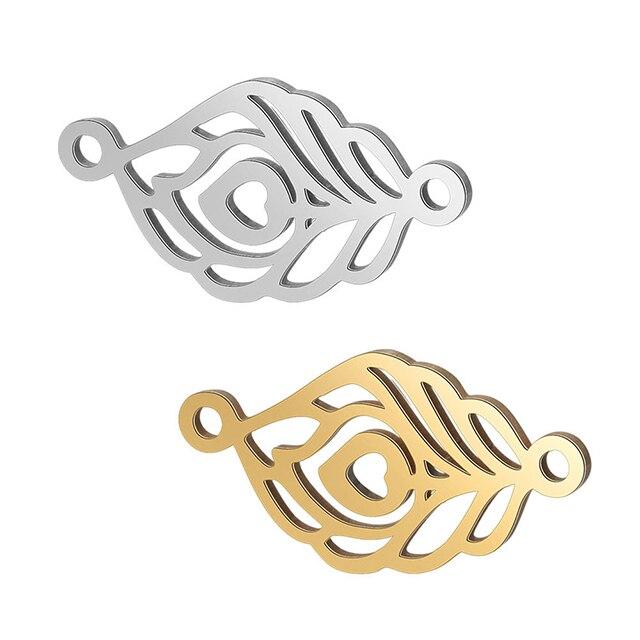 5 шт./лот Позолоченные из нержавеющей стали перо солнце лотоса ладони подвеска в виде подковы для DIY Браслеты ножные браслеты ювелирных изделий - Цвет: Style 8