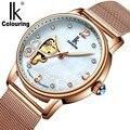 Женские Механические часы с каркасом  женские часы с цветным бриллиантом и клевером  модные часы  женские часы  Reloj femenino