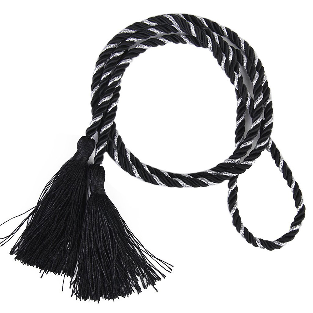 2pcs 135 cm Living Room Bedroom Tassel Rope Curtain Tiebacks Tie Backs or diy crafts decoration (Black+Silver)