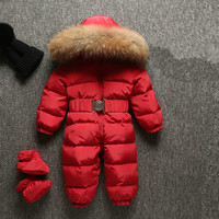5 Colors Baby Duck Down Rompers Winter Thick Cotton Climbing Clothes Fur Girl Suit Children S