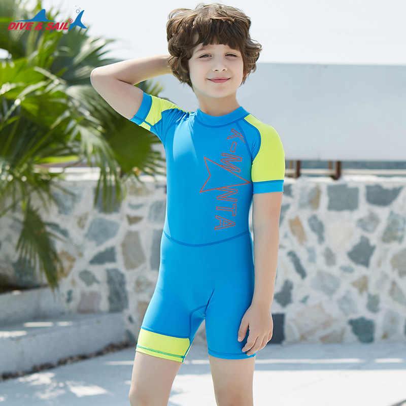 Piqué & SAIL filles maillot de bain enfants à manches courtes une pièce maillots de bain garçons maillot de bain UPF50 anti-éruption enfants maillot de bain fille nager