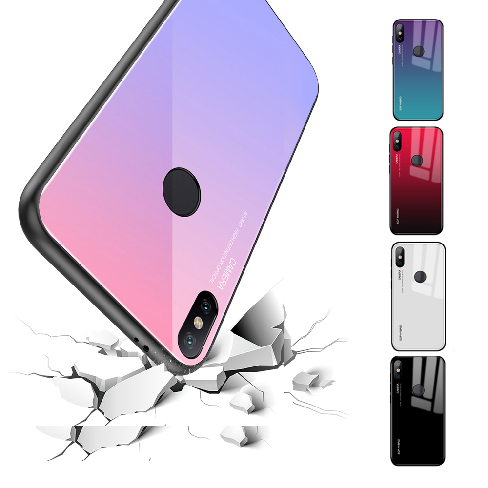 Gradient phone shell for Xiaomi Mi A1 Case Mi6 Mi5X MiA1 Mix2 S Glass Cover for Xiaomi Mi Mix 2 2S 5X 6X 6 Note 3 colorful coque