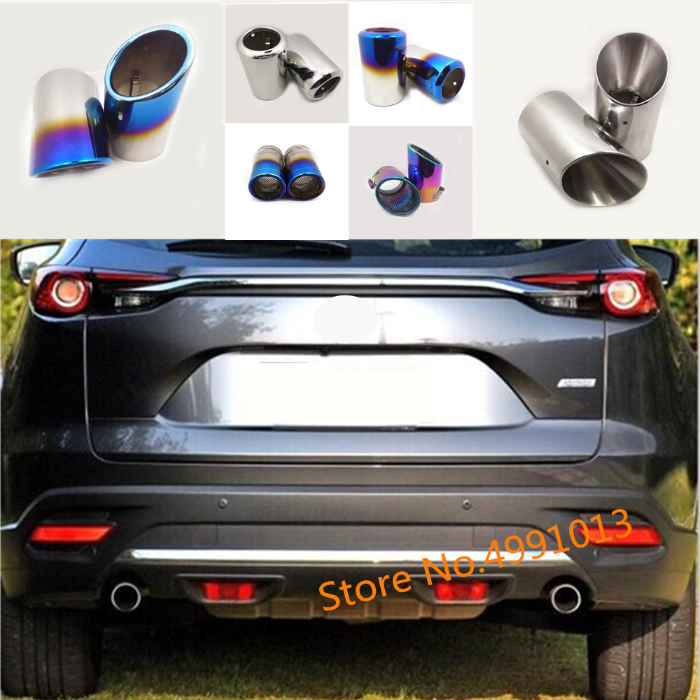 For Mazda CX-9 CX9 2016 2017 2018 2019 Car Rear Back Protect Cover Muffler Pipe Outlet Dedicate Exhaust Tip Tail 2