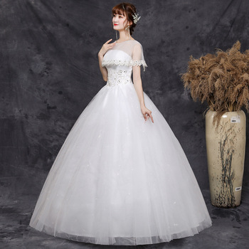 2019 New Sweet Wedding Dress Bridal Gowns Illusion O-Neck Short Sleeve Ball Gown Lace Tulle White Pregnant Plus Custom Size