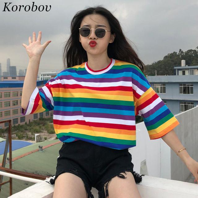 Korobov T Shirt Women Rainbow Striped Tops Harajuku Tshirt 2018 Summer Short Sleeve Korean Punk T-shirt camiseta feminina 35409