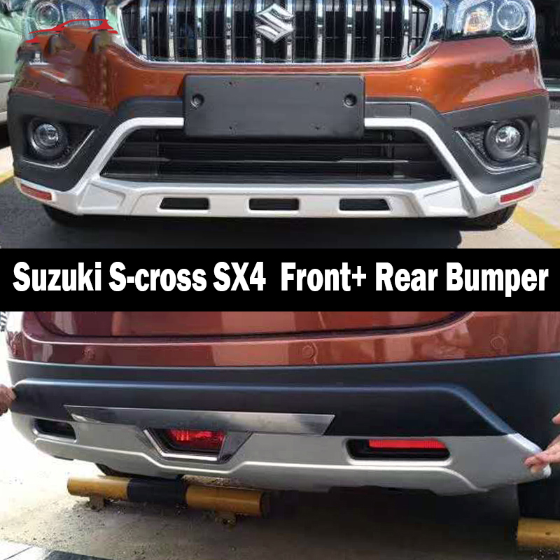 Fit For <font><b>Suzuki</b></font> S-cross SX4 2017-2019 Front+ Rear Bumper Diffuser Bumpers Lip Protector Guard skid plate ABS Chrome finish 2PES image