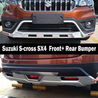 Fit For Suzuki S cross SX4 2017 2019 Front+ Rear Bumper Diffuser Bumpers Lip Protector Guard skid plate ABS Chrome finish 2PES