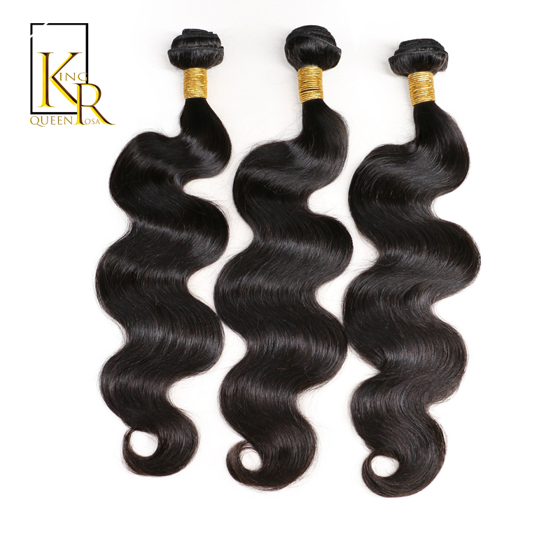 Brazilian Body Wave Human Hair Bundles Remy Weave Hair Extension Full End Natural Black Color 3PCS