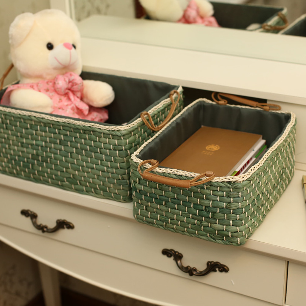 Handmade Wicker Storage Baskets Bins Containers toy organizer box