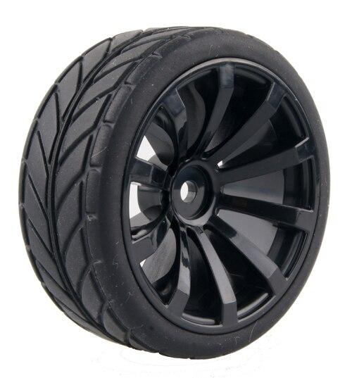 4 шт./лот 1/10 Run Flat RC автомобиль черные резиновые шины колеса шины для 1/10 RC на шоссейные HSP Tamiya HPI Kyosho