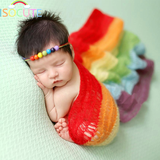 1e591496fdb ISOCUTE Mohair Rainbow Baby Wraps Newborn Photography Props Fotografia  Shoot Wool New Born Photo Accessories Girl Scarf Headband