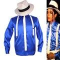 Rare MJ Michael Jackson Smooth Criminal MTV Fedora Bule Brillante Camisa Tie Suspender Para Hombres Niños Regalo