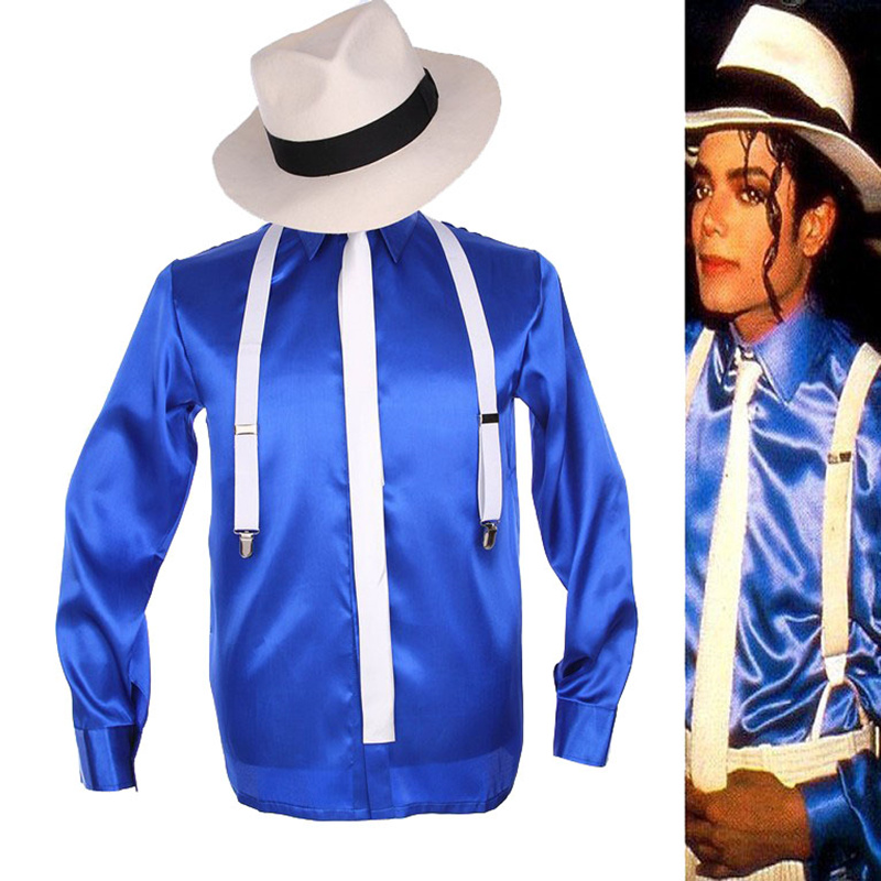 Rare MJ Michael Jackson Smooth Criminal MTV Fedora Bule Shining Shirt Tie Suspender For Men Kids Gift