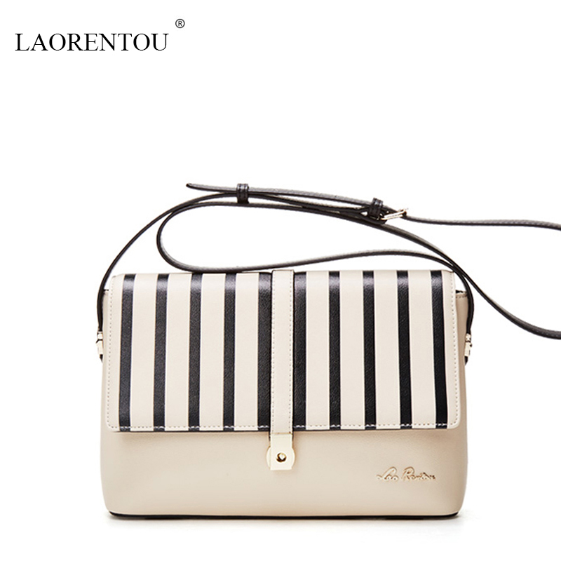 ФОТО LAORENTOU women handbags famous brands women  leather messenger bags 2016 ladies Black and white hit color fashion shoulder bag
