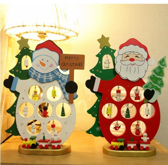 Santa claus snowman christmas decoration desk interior decor with bells small dolls
