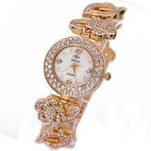 Top Gnova Platinium Crystal Rhinestone Pulsera de la Hoja de Metal Grandes Estrellas Estilo Mujeres de La Manera de Ginebra Reloj de Oro de Cuarzo Reloj de Pulsera