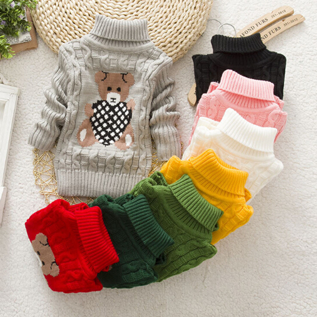 BibiCola High Quality Baby Girls Boys Pullovers Turtleneck Sweaters Autumn Winter Warm Cartoon Kids Sweater