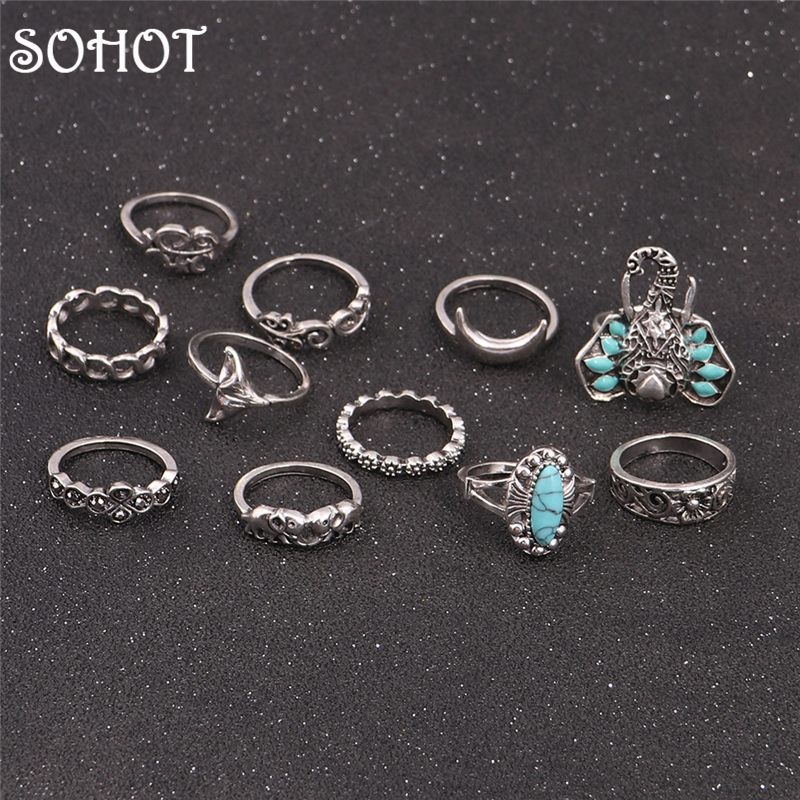 SOHOT Tibetan Silver Color 11pcs Gypsy Ethnic Finger Midi Knuckle Ring Sets Enamel Elephant Moon Flower Winter Accessory Gifts