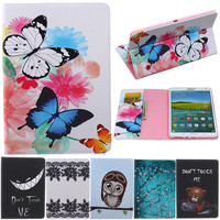 Butterfly Owl Bear Cartoon PU Leather Flip Stand Cover Cases For Samsung Galaxy Tab S 8