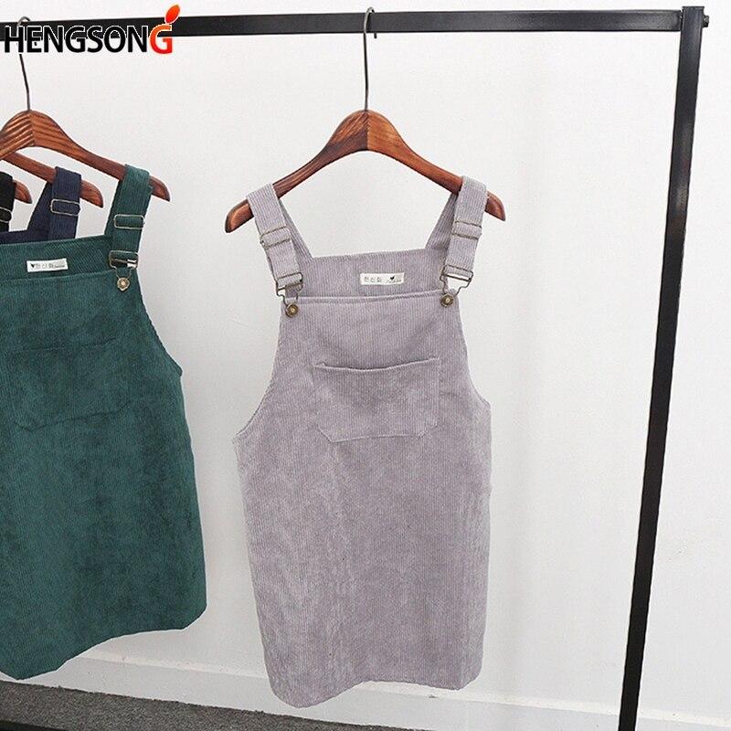ef9945e7ef4 2018 Women Retro Corduroy Dress Autumn Spring Suspender Sundress Sarafan Loose  Vest Overall Dress Female Natural Casual Dresses-in Dresses from Women s ...