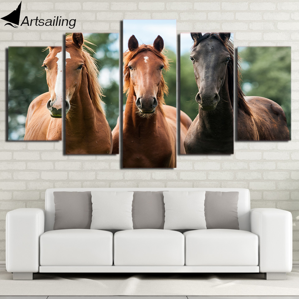 ArtSailing Wall Art Canvas Painting 5 Piece HD Print Brown Horse Race Posters and Prints ...