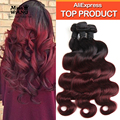 Top 10A Ombre Brazilian Hair Body Wave 3 Bundles Colored Bundles Hair Extension Natural Burgundy Brazilian Hair 1B/99J Remy Hair