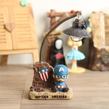 buy The Avengers Captain America Table Lamp Pen container LED Night Light Green Resin Decorative lighting great gift for kids,image LED lamps offers