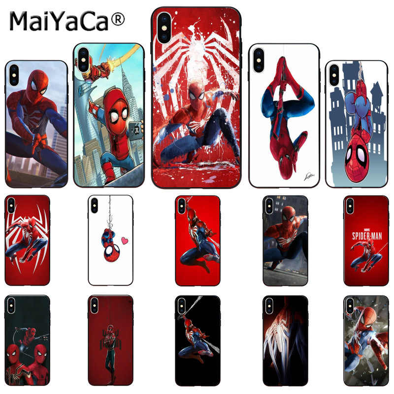 MaiYaCa Marvel Spiderman Luxury Unique Design Phone Cover for Apple iPhone 8 7 6 6S Plus X XS MAX 5 5S SE XR Mobile Cases