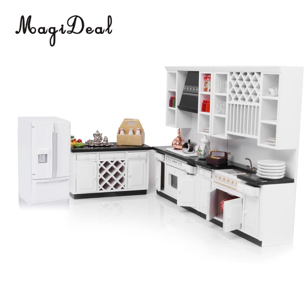 MagiDeal 1/12 Wood Dollhouse Miniature Furniture Fridge Refrigerator For Living Room Kitchen Acce Pretend Play Simulation Toy