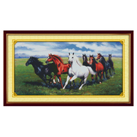 Joy Sunday crossstitch kit Eight steeds galloping horse DMC14CT 11CT cotton fabric baby room painting gift art factory wholesale