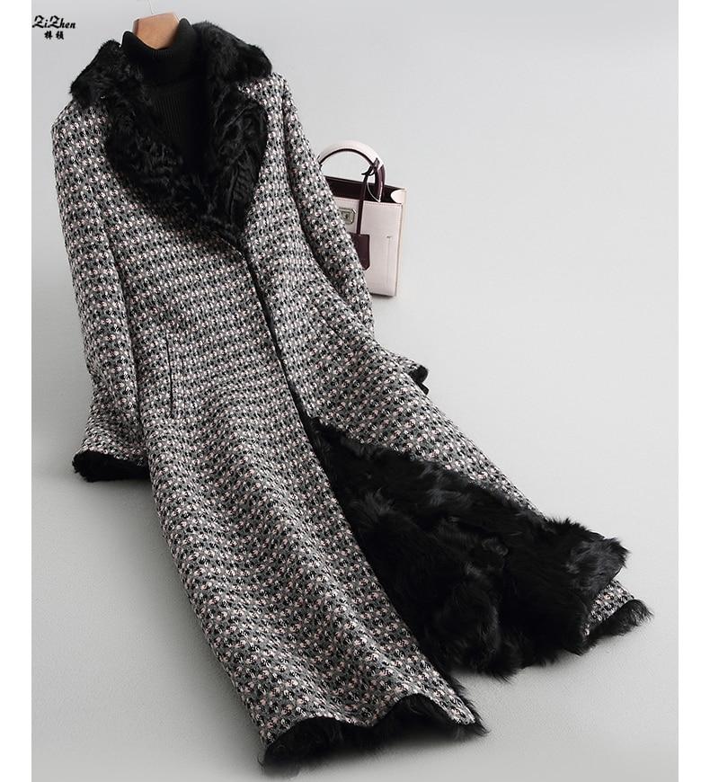ZiZhen зима Женская 2018 Новое теплое пальто натуральный мех ягненка подкладка толстое длинное пальто карманы 180921-14, KQN68250