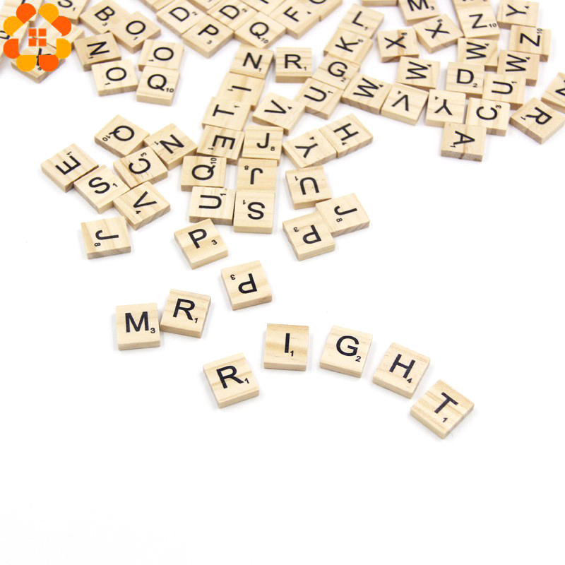 100PCS Wooden Alphabet Scrabble Tiles Letters&Numbers Crafts Wood Wedding Party Decoration Kids Toys