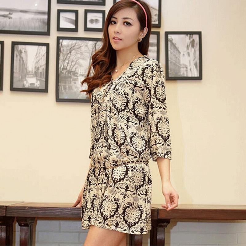 Új nyári női ruha stílusú ruha V-nyakú rövid ujjú Nemzeti nyomtatott női pamut ruha Alkalmi Vestidos női ruházat alkalmi