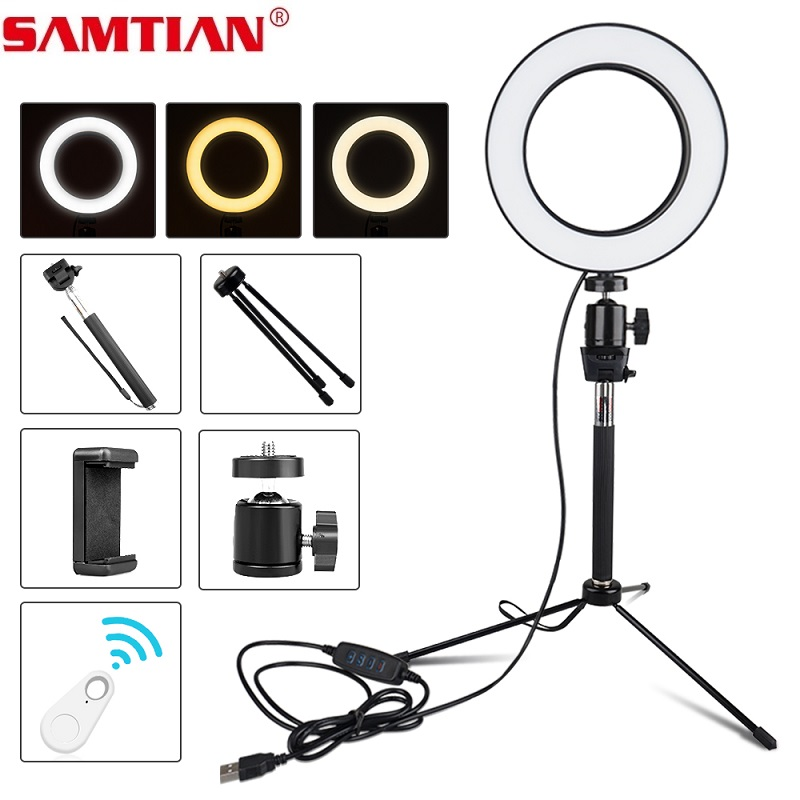 Ring light 18 with 384Pcs LED and Tripod Stand /& Phone Holder Stepless Dimming Rotating Lamp Head for YouTube Video Makeup Selfie