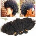 7A Não Transformados Mongolian Afro Kinky Curly Virgem Cabelo Weave Bundles 3 Pcs Lot Kinky Curly Extensões Do Cabelo Rosa Produtos Para O Cabelo