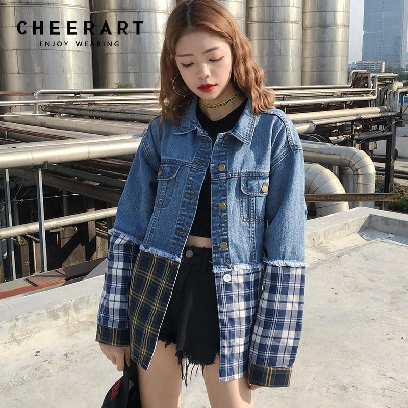 Cheerart Blue Buffalo Plaid Denim Jacket Women Patchwork