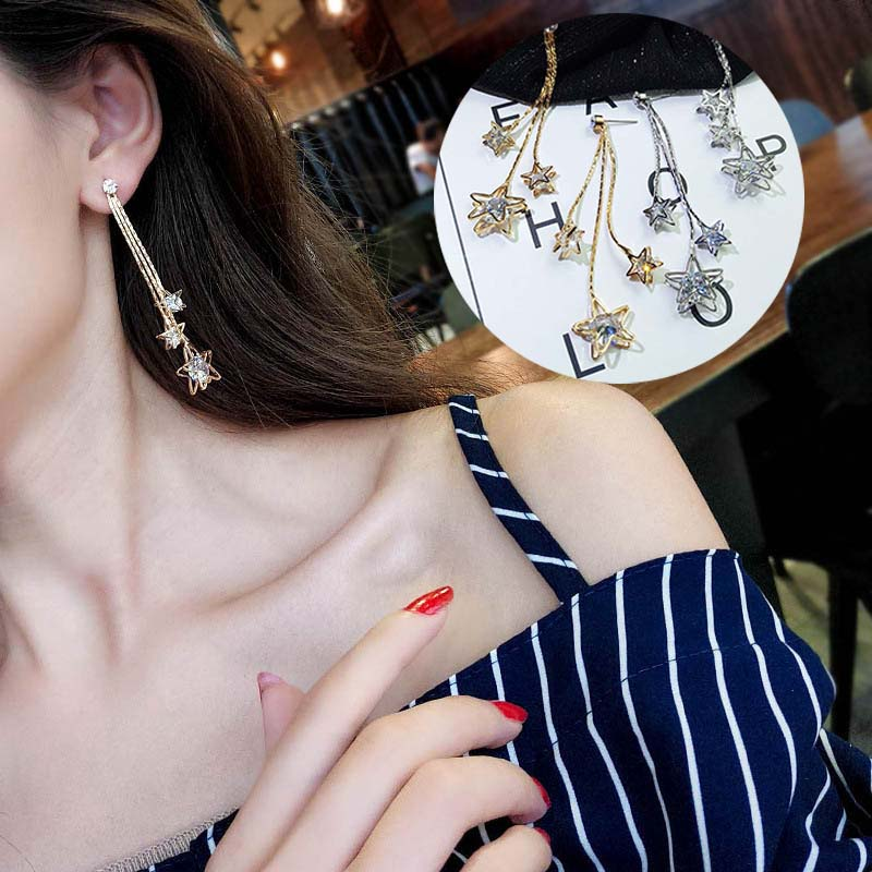 Fashion Long Earrings With Pendant Shiny Crystal Star Women Multilayer