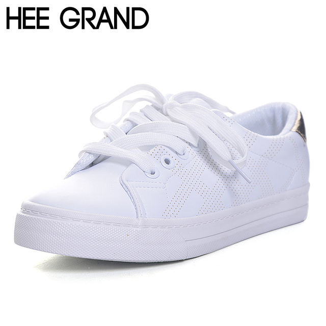 HEE GRAND Women Flats Spring Casual  Solid All-match Vulcanized Shoes Shoes Lace-up Thick Bottom White Shoes for Woman XWC1092